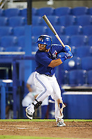 GCL Blue Jays third baseman Alfredo Bohorquez (13) at bat during the second game of a doubleheader against the GCL Phillies on August 15, 2016 at Florida Auto Exchange Stadium in Dunedin, Florida.  GCL Phillies defeated the GCL Blue Jays 4-0.  (Mike Janes/Four Seam Images)