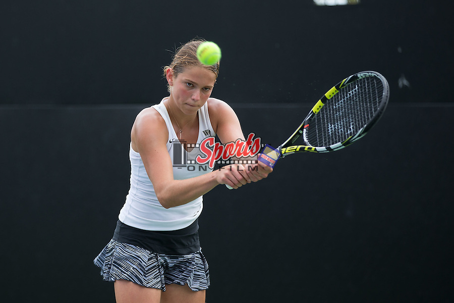 Samantha Asch of the Wake Forest Demon Deacons during singles action in the Wake Forest Invitational at the Wake Forest Tennis Center on October 9, 2015 in Winston-Salem, North Carolina.  (Brian Westerholt/Sports On Film)
