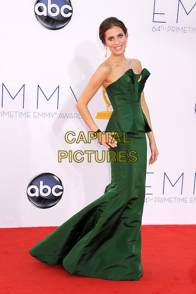 Allison Williams.The 64th Anual Primetime Emmy Awards - Arrivals, held at Nokia Theatre L.A. Live in Los Angeles, California, USA..September 23rd, 2012.emmys full length green strapless peplum dress side.CAP/ADM/BP.©Byron Purvis/AdMedia/Capital Pictures.
