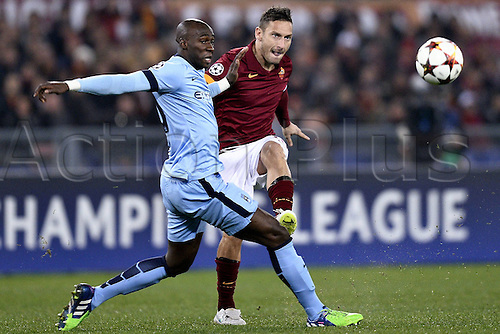 10.12.2014. Rome, Italy. UEFA Champions League Group E match between AS Roma 0-2 Manchester City at Stadio Olimpico in Rome, Italy. Francesco Totti and Eliaquim Mangala