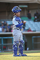 Iolana Akau (15) of the Stockton Ports in the field at catcher during a game against the Lancaster JetHawks at The Hanger on May 26, 2016 in Lancaster, California. Stockton defeated Lancaster, 16-7. (Larry Goren/Four Seam Images)