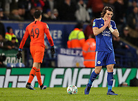 Leicester City's Caglar Soyunc despairs after missing a penalty<br /> <br /> Photographer Andrew Kearns/CameraSport<br /> <br /> English League Cup - Carabao Cup Quarter Final - Leicester City v Manchester City - Tuesday 18th December 2018 - King Power Stadium - Leicester<br />  <br /> World Copyright © 2018 CameraSport. All rights reserved. 43 Linden Ave. Countesthorpe. Leicester. England. LE8 5PG - Tel: +44 (0) 116 277 4147 - admin@camerasport.com - www.camerasport.com