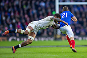 10th February 2019, Twickenham Stadium, London, England; Guinness Six Nations Rugby, England versus France; Courtney Lawes of England tackles Antoine Dupont of France