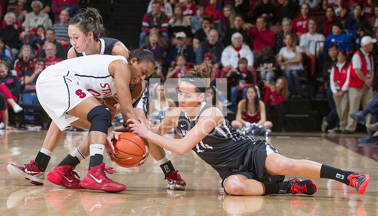 Stanford's Alex Green, goes after a lose ball during Stanford women's basketball  vs Washington State at Maples Pavilion, Stanford, California on March 1, 2014.