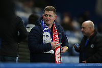 Fan arrives wearing a half and half scarf with a picture of Chelsea Manager, Antonio Conte and Arsenal Manager, Arsene Wenger during Chelsea vs Arsenal, Caraboa Cup Football at Stamford Bridge on 10th January 2018