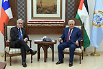 Palestinian President Mahmud Abbas welcomes his Chilean counterpart Sebastian Pinera upon his arrival to the presidential compound in the West Bank city of Ramallah on June 27, 2019. Photo by Thaer Ganaim Palestinian President Mahmud Abbas meets with Chilean counterpart Sebastian Pinera in the West Bank city of Ramallah on June 27, 2019. Photo by Thaer Ganaim