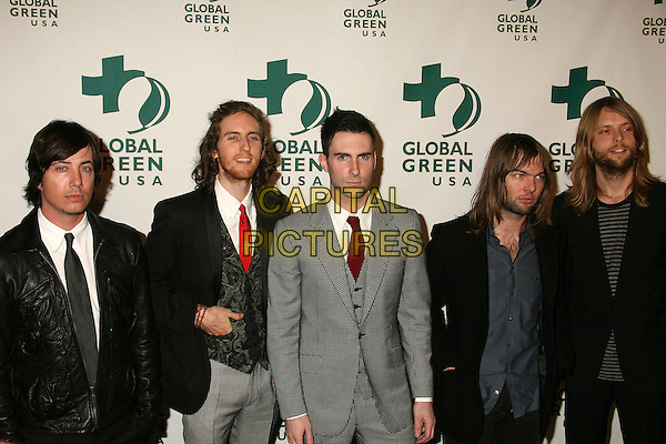 RYAN DUSICK, JESSE CARMICHAEL, ADAM LEVINE, MICKEY MADDEN & JAMES VALENTINE - MAROON 5.Global Green USA's 3rd Annual Pre-Oscar Party at Avalon, Hollywood, California, USA..February 21st, 2007.oscars half length grey gray suit jacket black leather.CAP/ADM/BP.©Byron Purvis/AdMedia/Capital Pictures