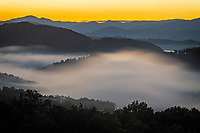 Autumn sunrise and valley fog, Foothills Parkway West