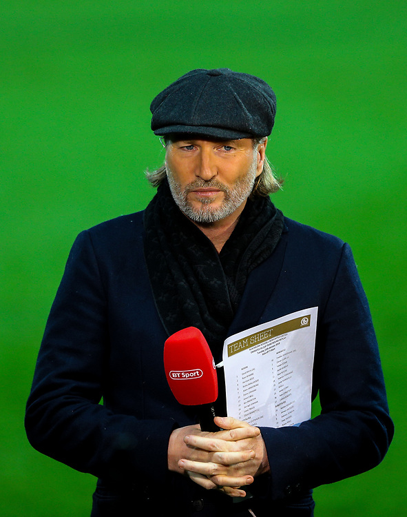 BT Sport pundit Robbie Savage prepares to speak to camera<br /> <br /> Photographer Alex Dodd/CameraSport<br /> <br /> Emirates FA Cup Third Round Replay - Blackburn Rovers v Newcastle United - Tuesday 15th January 2019 - Ewood Park - Blackburn<br />  <br /> World Copyright © 2019 CameraSport. All rights reserved. 43 Linden Ave. Countesthorpe. Leicester. England. LE8 5PG - Tel: +44 (0) 116 277 4147 - admin@camerasport.com - www.camerasport.com