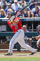 Texas Tech Red Raiders catcher Tyler Floyd (16) follows through on his swing against the TCU Horned Frogs in Game 3 of the NCAA College World Series on June 19, 2016 at TD Ameritrade Park in Omaha, Nebraska. TCU defeated Texas Tech 5-3. (Andrew Woolley/Four Seam Images)
