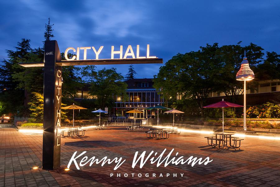 City Hall at Night, Auburn, Washington, WA, USA.