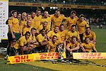 Australia Wallabies team pose after winning the match of DHL Hong Kong Bledisloe Cup between New Zealand All Blacks and Australia Wallabies at Hong Kong Stadium on October 30, 2010 in Hong Kong, China.