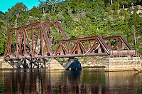 Old railroad trestle bridge located at beaver Arkansas on the White River near Eureka Springs.