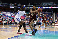 GREENSBORO, NC - MARCH 06: Taylor Soule #13 of Boston College is guarded by Onome Akinbode-James #24 of Duke University during a game between Boston College and Duke at Greensboro Coliseum on March 06, 2020 in Greensboro, North Carolina.