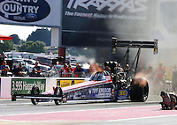 Sept. 14, 2012; Concord, NC, USA: NHRA top fuel dragster driver Dom Lagana during qualifying for the O'Reilly Auto Parts Nationals at zMax Dragway. Mandatory Credit: Mark J. Rebilas-