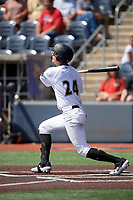 West Virginia Black Bears Blake Sabol (24) bats during a NY-Penn League game against the Batavia Muckdogs on August 29, 2019 at Monongalia County Ballpark in Morgantown, New York.  West Virginia defeated Batavia 5-4 in ten innings.  (Mike Janes/Four Seam Images)