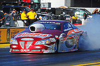Feb. 9, 2012; Pomona, CA, USA; NHRA pro stock driver Ronnie Humphrey during qualifying at the Winternationals at Auto Club Raceway at Pomona. Mandatory Credit: Mark J. Rebilas-