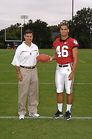 7 August 2006: Stanford Cardinal head coach Walt Harris and Robert Polk during Stanford Football's Team Photo Day at Stanford Football's Practice Field in Stanford, CA.