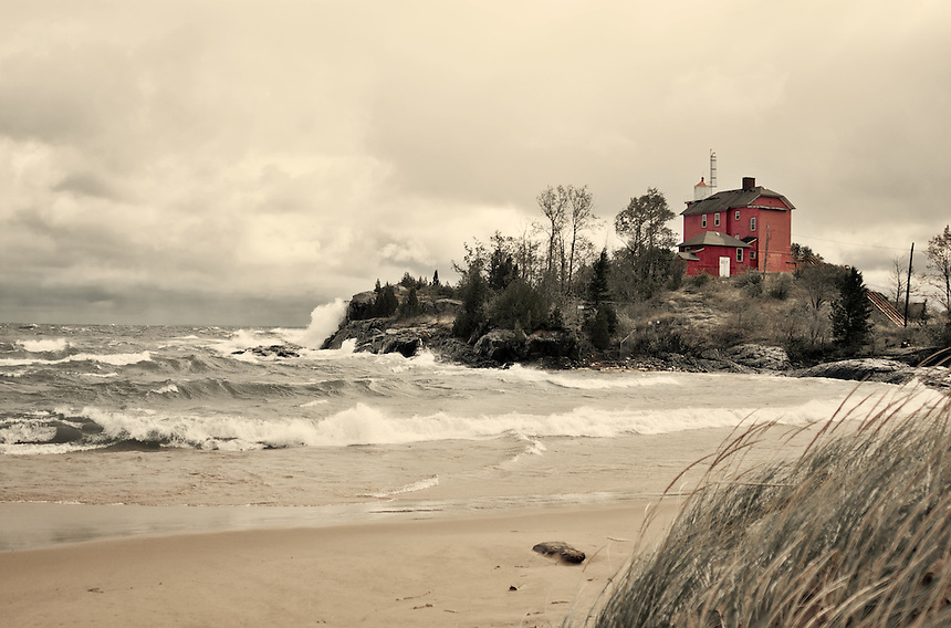 A late-September storm created large waves on Lake Superior. The Marquette lighthouse has seen a few of these storms over time. Marquette, MI.