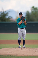 AZL Mariners starting pitcher Joey O'Brien (16) looks in for the sign during an Arizona League game against the AZL White Sox at Camelback Ranch on July 8, 2018 in Glendale, Arizona. The AZL White Sox defeated the AZL Mariners 8-5. (Zachary Lucy/Four Seam Images)
