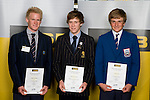 Boys Yachting finalists Hayden Cockburn, Paul Snow-Hansen & George Lane. ASB College Sport Young Sportperson of the Year Awards 2008 held at Eden Park, Auckland, on Thursday November 13th, 2008.