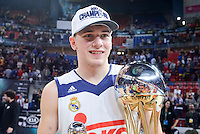 Real Madrid's Luka Doncic celebrating the championship  during Quarter Finals match of 2017 King's Cup at Fernando Buesa Arena in Vitoria, Spain. February 19, 2017. (ALTERPHOTOS/BorjaB.Hojas)