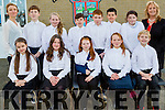 The Ardfert School Choir who will sing at the Convention Centre,Dublin on 1st January 2016, Front l-r: Grace Kearney,Ella Brosnan,Gemma Lawlor,Sarah Bodenham and James Baxter. Back l-r: Dolores Martin (teacher), Odhran Pierce,Ciara Heather,Gavin Raggett,Jack Bodenham,Jack Kearney,Ruth Duffy and Betty Stack (Principal).