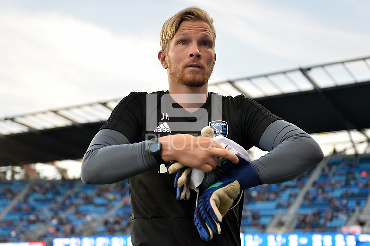 San Jose, CA - Saturday April 14, 2018: Jyri Nieminen prior to a Major League Soccer (MLS) match between the San Jose Earthquakes and the Houston Dynamo at Avaya Stadium.
