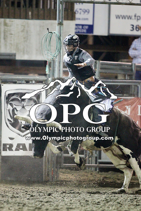 20 Aug 2014:  Sage Steele Kimsey scored a 85.5 during the final round of competition in the Seminole Hard Rock Extreme Bulls competition at the Kitsap County Stampede in Bremerton, Washington.