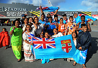 Fans arrive for the 2017 Rugby League World Cup quarterfinal match between New Zealand Kiwis and Fiji at Wellington Regional Stadium in Wellington, New Zealand on Saturday, 18 November 2017. Photo: Dave Lintott / lintottphoto.co.nz