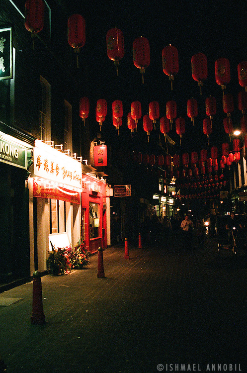 Chinatown at Night: Chinese Street Decorations in Chinatown, Leicester Square