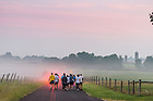 August 15, 2017;  Pilgrims start out at dawn to make the 39 mile trek, 18 walking and 21 biking, on day 2 of the ND Trail from Oaktown to Pimento, Indiana. As part of the University's 175th anniversary celebration, the Notre Dame Trail will commemorate Father Sorin and the Holy Cross Brothers' journey. A small group of pilgrims will make the entire 300+ mile journey from Vincennes to Notre Dame over  two weeks. (Photo by Barbara Johnston/University of Notre Dame)