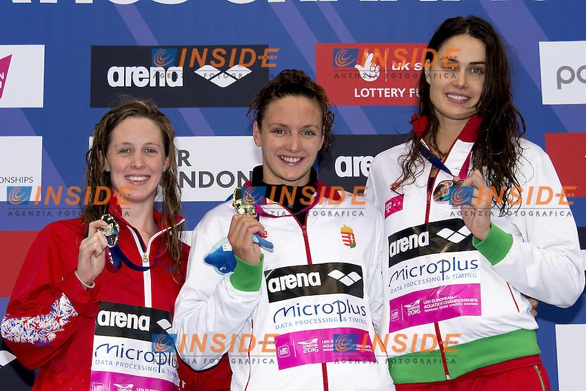 400 I.M. Women  (L to R) MILEY Hannah GBR; HOSSZU Katinka HUN; JAKABOS Zsuszanna HUN<br /> 400 Individual Medley Women Podium<br /> London, Queen Elizabeth II Olympic Park Pool <br /> LEN 2016 European Aquatics Elite Championships <br /> Swimming day 01 finals<br /> Day 08 15-05-2016<br /> Photo Giorgio Scala/Deepbluemedia/Insidefoto