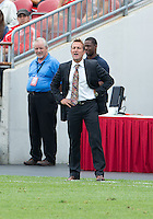 29 June 2013: Real Salt lake head coach Jason Kreis talks to his players during an MLS game between Real Salt Lake and Toronto FC at BMO Field in Toronto, Ontario Canada.<br /> Real Salt Lake won 1-0.
