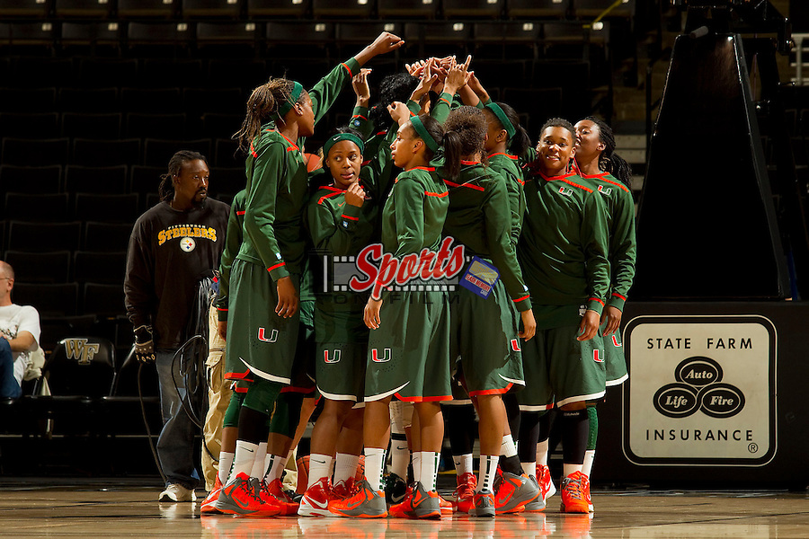 The Miami Hurricanes huddle up prior to the game against the Wake Forest Demon Deacons at the LJVM Coliseum on January 24, 2013 in Winston-Salem, North Carolina.  The Hurricanes defeated the Demon Deacons 79-78.    (Brian Westerholt/Sports On Film)