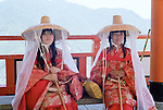 Two Pilgrims Resting at Kumano Nachi Tashai Temple
