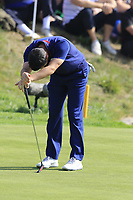Rory McIlroy Team Europe misses his putt to save the match on the 16th green during Friday's Fourball Matches at the 2018 Ryder Cup, Le Golf National, Iles-de-France, France. 28/09/2018.<br /> Picture Eoin Clarke / Golffile.ie<br /> <br /> All photo usage must carry mandatory copyright credit (© Golffile | Eoin Clarke)