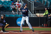 Cam McDonald (4) of the Illinois Fighting Illini at bat against the Coastal Carolina Chanticleers at Springs Brooks Stadium on February 22, 2020 in Conway, South Carolina. The Fighting Illini defeated the Chanticleers 5-2. (Brian Westerholt/Four Seam Images)