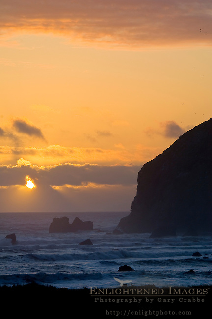 Sunset over Sugarloaf Rock at Cape Mendocino, on the Lost Coast, California