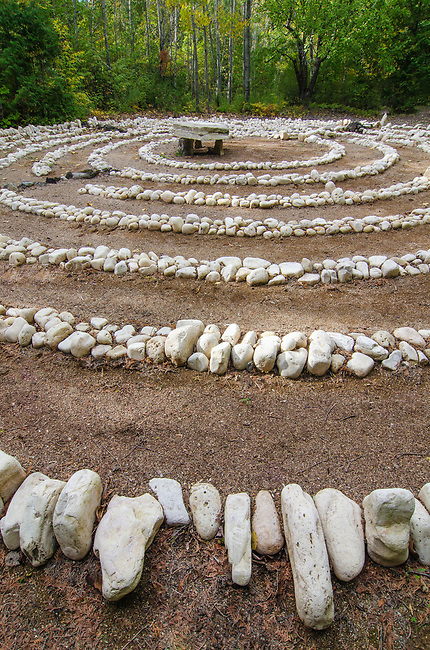 The labyrinth at the Clearing allows oneto ponder nature and the universe while problem solving and walking, The Clearing, Door County, Wisconsin