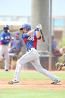 Josh Altmann (23) of the AZL Rangers bats during a game against the AZL Padres at the San Diego Padres Spring Training Complex on July 4, 2015 in Peoria, Arizona. Padres defeated the Rangers, 9-2. (Larry Goren/Four Seam Images)