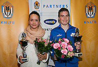 01-12-13,Netherlands, Almere,  National Tennis Center, Tennis, Winter Youth Circuit, Both winners 16 years Liza Lebedzeva and Patrick Speelman<br /> Photo: Henk Koster