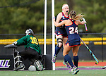 EASTON, MA - NOVEMBER 20:  Emily Barnard (17) of Shippensburg University jumps into the arms of Mary Spisak (24) of Shippensburg University after scoring on Ericka Parks (10) of LIU Post during the NCAA Division II Field Hockey Championship at WB Mason Stadium on November 20, 2016 in Easton, Massachusetts.  Shippensburg University defeated LIU Post 2-1 for the national title. (Photo by Winslow Townson/NCAA Photos via Getty Images)