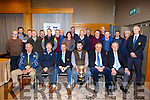 The officers and delegates of the North Kerry Hurling Board in attendance at the launch of their hurling championships in the Ballyroe Heights Hotel on Tuesday night.<br /> Seated l to r: Teddy O'Sullivan, Paudie Dineen (Kerry Co Comm Hurling Officer), Pat Dineen (NKHB Chairman), Sponsor, Brendan O'Neill (Rhyno Quality Feeds), Joe Walsh (NKHB Sec) and John Lucid (NKHB Culture Officer)