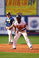 Canisius College Golden Griffins center fielder Cyrus Senior (17) leads off second base during the second game of a doubleheader against the Michigan Wolverines on February 20, 2016 at Tradition Field in St. Lucie, Florida.  Michigan defeated Canisius 3-0.  (Mike Janes/Four Seam Images)