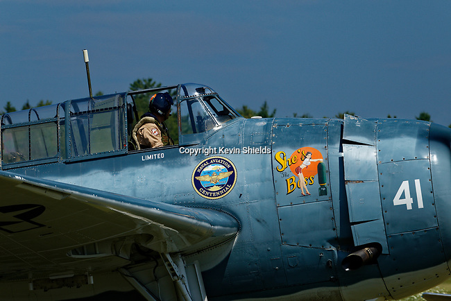 US Navy Avenger Torpedo Bomber at an airshow, Owls Head, Maine, USA