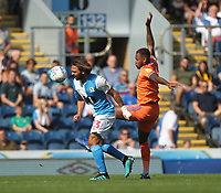 Blackburn Rovers Bradley Dack in action with Cardiff City's Leandro Bacuna<br /> <br /> Photographer Mick Walker/CameraSport<br /> <br /> The Premier League - Blackburn Rovers v Cardiff City - Saturday August 24th 2019 - Ewood Park - Blackburn<br /> <br /> World Copyright © 2019 CameraSport. All rights reserved. 43 Linden Ave. Countesthorpe. Leicester. England. LE8 5PG - Tel: +44 (0) 116 277 4147 - admin@camerasport.com - www.camerasport.com