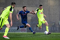 Bolton Wanderers' Ethan Hamilton (right) competing with Rochdale's Callum Camps <br /> <br /> Photographer Andrew Kearns/CameraSport<br /> <br /> The EFL Sky Bet League One - Rochdale v Bolton Wanderers - Saturday 11th January 2020 - Spotland Stadium - Rochdale<br /> <br /> World Copyright © 2020 CameraSport. All rights reserved. 43 Linden Ave. Countesthorpe. Leicester. England. LE8 5PG - Tel: +44 (0) 116 277 4147 - admin@camerasport.com - www.camerasport.com