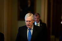 Senate Majority Leader Mitch McConnell (R-KY) makes his way to his office from the Senate Chamber at the US Capitol in Washington, DC, Tuesday, March 17, 2020. Credit: Rod Lamkey / CNP/AdMedia