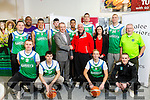 Kevin McCarthy,General Manager Garveys Supervalu and  Mark Bernsen, Coach with players and Management team at the Launch of the Garvey's SuperValu sponsorship of the Tralee Warriors on Tuesday